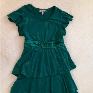 Forest Green tiered layed Girl Dress by speechless